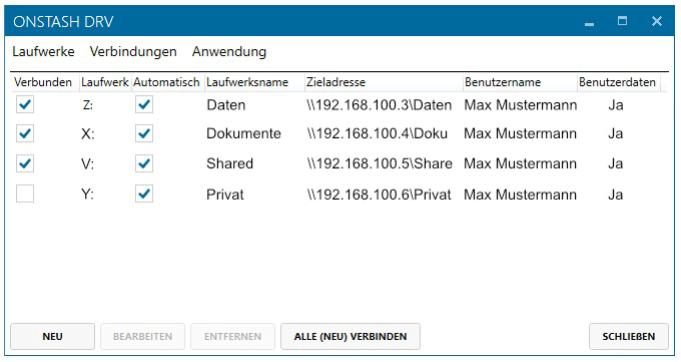 Cloud-Speicher per Windows-Laufwerk - Laufwerks-Übersicht